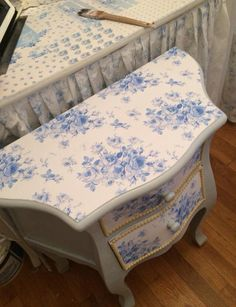 Toile Decoupaged End Table