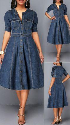 Button Up Denim Blue Pocket Shirt Dress HOT SALES beautiful dresses, pretty dresses, holiday fashion, dresses outf Cute Dresses, Beautiful Dresses, Casual Dresses, Denim Dresses, Elegant Dresses, Dresses Dresses, Pretty Dresses For Women, Summer Dresses, Wedding Dresses