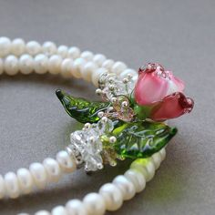 #Lampwork #Glass #Necklace #Artisan #Handmade  #Jewelry #SRA #Floral #Focal #Flower #Lampwork #JewelryBeadsByKatie  #Pendant