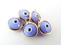 5 Mini Pale Blue 2 Evil Eye Nazar Artisan Glass by LylaSupplies, $4.50