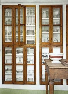 old windows as cupboard doors. Click to see this and more !!