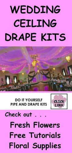 Want a gorgeous reception hall?  Check out DIY pipe draping kits for ceilings, backdrops, table skirting, lighting and much more!