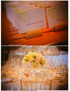 Cork name-plate holders and yellow flower arrangement, vineyard perfection. -Lis