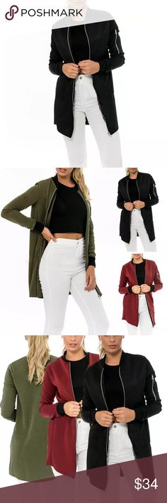 Long Casual Coat Long Casual Coat.  Material: Cotton  Size          Bust                 Sleeve              Length    M              38.1in                23.2in                 33in L                39.7in                23.6in               33.4in XL               41.3in                24in                 33.8in Jackets & Coats