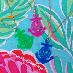 Love these preppy little anchor monogram necklaces, they match all your favorite Lilly patterns!!!