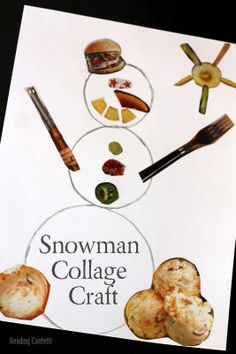 Easy snowman collage craft for kids