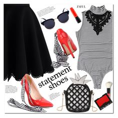 """""""Double Take: Statement Shoes"""" by duma-duma ❤ liked on Polyvore featuring Chicwish, Bobbi Brown Cosmetics, NARS Cosmetics, MAC Cosmetics and statementshoes"""