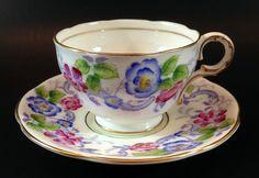 Vintage Melba Bone China Demitasse Set Gold Trim Rose Floral Cup & Saucer #Melba