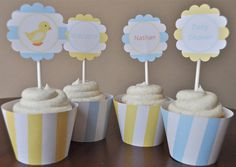 Rubber Ducky Baby Boy Shower Cupcake Toppers by TrishsDesignStudio