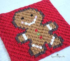 Christmas Crochet Gingerbread Man Square FREE Pattern