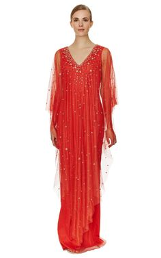 Embroidered Column Caftan by Marchesa Now Available on Moda Operandi