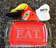 Triathlon Inspired  etched pyrex Baking Dish by GoneGirly on Etsy, $32.00