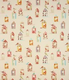 Quirky fabric depicting colourful birds and birdhouses. Made from 100% cotton. This fabric is suitable for blinds, curtains and cushions. Buy online or visit one of our shops where you can see our vast range of designer clearance fabrics. Why not take adv