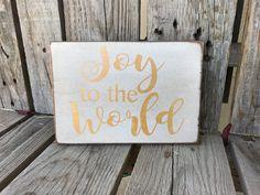 Ready to ship Joy to the world gold glitter hand by jodyaleavitt