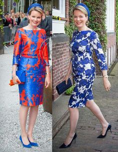 Two dresses worn by Queen Matilde in The Hague, Netherlands,  20 mei 2015
