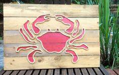 Handmade Crab with Rope Beach Pallet Art by BeachByDesignCo