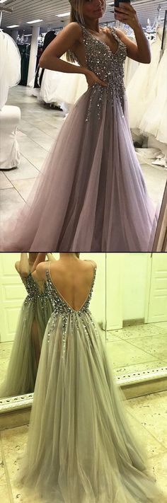 This dress could be custom made, there are no extra cost to do custom size and color, Sexy Side Split Prom Dress Sleeveless Tulle Evening Dress Long Party Dress Split Prom Dresses, Prom Dresses For Teens, Beaded Prom Dress, Backless Prom Dresses, A Line Prom Dresses, Cheap Prom Dresses, Prom Party Dresses, Prom Gowns, Silver Prom Dresses