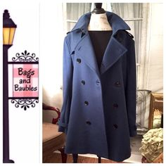 """BURBERRY Blue Wool Blend Coat, Size 18* Excellent Pre-Loved Condition: BURBERRY LONDON Wool Cashmere Trench Coat, Size 54 (approx US equivalent, women's size 18). Cornflower blue wool/cashmere blend (80% wool/20% cashmere) trench style coat with removable belt, epaulettes, gun flap, belted cuffs and rain shield. Measures (approximate) 17"""" Shoulder, 42"""" Bust, 26"""" Sleeve, 40"""" Waist, 44"""" Hip, 35"""" Length. Current retail $1,795.  Always Authentic 