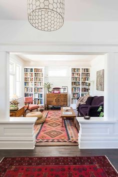 Victoria BC Living Room Home Tour On Design*Sponge decor ideas for living . - Victoria BC Living Room Home Tour On Design*Sponge decor ideas for living room boho A 1911 Cr - My Living Room, Living Room Interior, Home And Living, Living Spaces, Modern Living, Cozy Living, Living Room With Bookshelves, Living Room Oriental Rug, Luxury Living