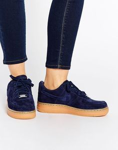 Nike | Nike Air Force 1 07 Suede Navy Trainers at ASOS