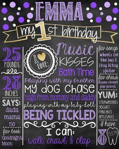 First Birthday Chalkboard | Purple and Gold 1st Birthday Chalkboard Sign | First…