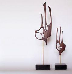 Mid century modern abstract sculpture danish modern retro tiki 1960s 1950s: