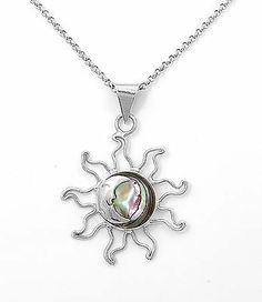 Sterling Silver Abalone Sun Moon Pendant