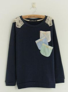 Round Neck Colorful Pocket Navy Sweatershirt$40.00