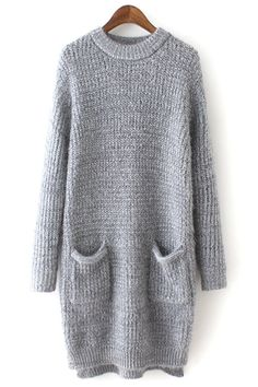 Pure Color Long Sleeve Sweater Dress
