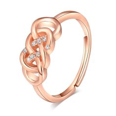 [$3.92] #Sterling Silver #Diamond #Ring  (Colour: Rose Gold  ring opening , Purity: Sterling Silver)