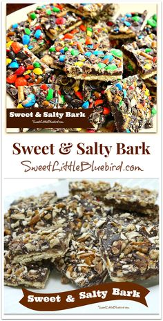 SWEET & SALTY BARK!  Perfect treat for salty & sweet addicts!  Easy to make! | SweetLittleBluebird.com Candy Cookies, Brownie Cookies, Candy Recipes, Sweet Recipes, Cookie Recipes, Dessert Recipes, Cookbook Recipes, Candy Bark, Bark Recipe