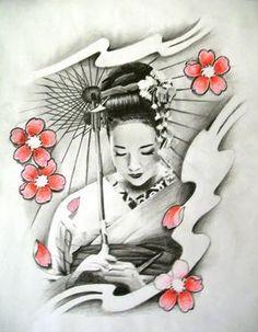 Geisha Tattoo - Cherry Blossom n Geisha Tattoo Design