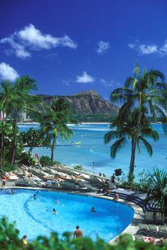 Diamond Head at Waikiki, Oahu, Hawaii.