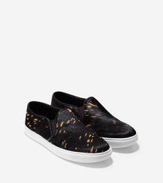 Womens Cole Haan Bowie Slipon Sneakers Black Croc Embossed XTF30483
