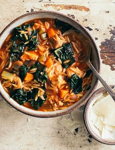 Chicken Florentine Soup with Kale - Recipes Kale Recipes, Soup Recipes, Cooking Recipes, Chicken Orzo, Spinach Stuffed Chicken, Recipe Using Kale, Chicken Florentine Soup, Kale And Spinach, Pasta Soup