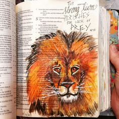 Illuminated journaling class with @janngray The lion from her #oneanddone was fun! #job #illustratedfaith #illuminatedjournaling #biblejournaling #journalingbible #bibleart #bible