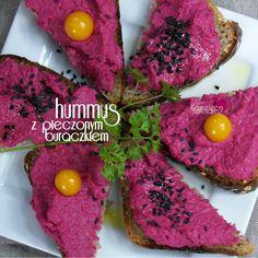 RÓŻOWY HUMMUS czyli hummus z pieczonym buraczkiem. Hummus, Avocado Toast, Grains, Breakfast, Pink, Beetroot, Pray, Morning Coffee