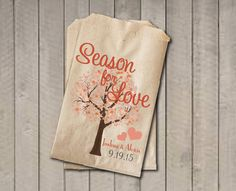 Wedding Favor Bags, Season For Love Favor Bags, Personalized Wedding Candy Bags, Fall Wedding Candy Buffet Bags - Fall Colors with Tree