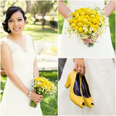 Yellow For This Brides Bouquet and Shoes