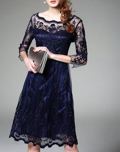 #AdoreWe Ewheat Royal Blue Embroidered Lace Sheer Mesh Midi Dress - AdoreWe.com