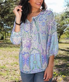 Loving this Lilac Paisley Three-Quarter-Sleeve Top - Women on #zulily! #zulilyfinds