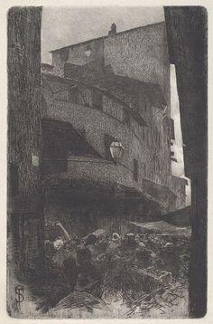 Telemaco Signorini, Via Santa Maria della Tromba, 1886, etching, The Ahmanson Foundation
