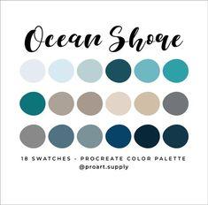 Ocean Color Palette, Beach Color Palettes, Color Schemes Colour Palettes, Green Colour Palette, Blue Palette, Ocean Colors, Colours, Beach Color Schemes, Blue Colors