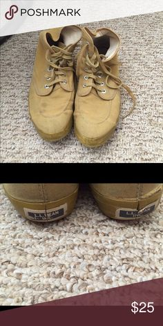 "LL Bean Tan converse-like ""hiking shoes"". LL Bean tan converse-like ""hiking shoes"". Size 10 men's. They belonged to my husband, and he hiked in them (small hikes). He said he really liked them (and if they fit me I would've taken them). Small stains on the front half, not too noticeable. Got them at LL Bean. LL Bean Shoes Athletic Shoes"