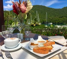 Delicious caramel french toast for breakfast with a view.  https://www.instagram.com/capellastlucia/