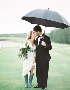 Couples Who Embraced their Rainy Day Wedding And Totally Nailed It: Having boots ready will be so useful if there's a chance for rain on your big day!