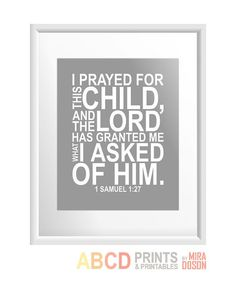 Bible verse bible quote print I prayed for this child by MiraDoson, $11.00