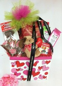 My Heart is All Yours gift basket by The Frederick Basket Company with our Scribbled Hearts Gift Basket Box. www.boxcoindustries.com
