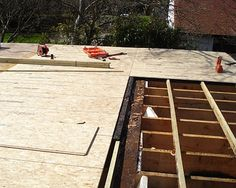 Flat roof decking in old roofs used to be like floor boards, close boarded roof deck. Chipboard Shuttering Ply T+G Sheets Stramit Board Strawboard OSB Flat Roof Repair, Garage Roof, Corrugated Roofing, Garage Renovation, Wood Shingles, Roof Installation, Roof Deck, Gabel