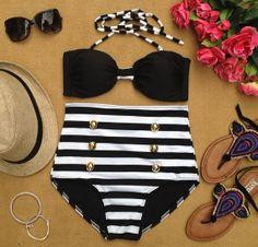 Retro Black Striped High Waist Bikini 44.00 ,LOVE THIS.